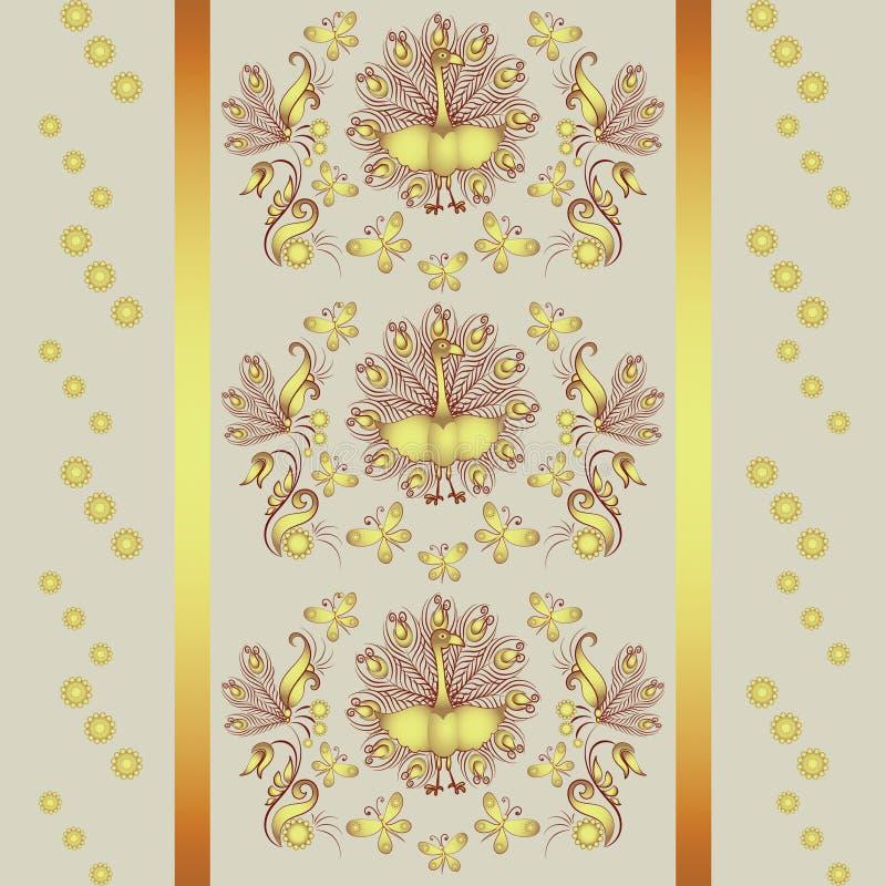 Ornamento floral con el pavo real y las mariposas libre illustration