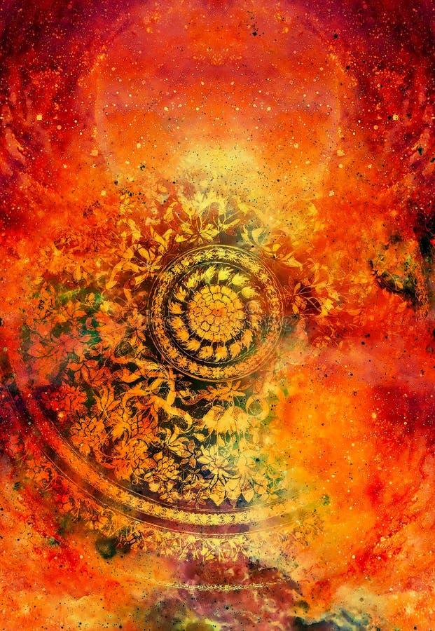 Ornamento floral de Filigrane com forma da mandala no backgrond cósmico, colagem do computador Efeito de fogo ilustração royalty free