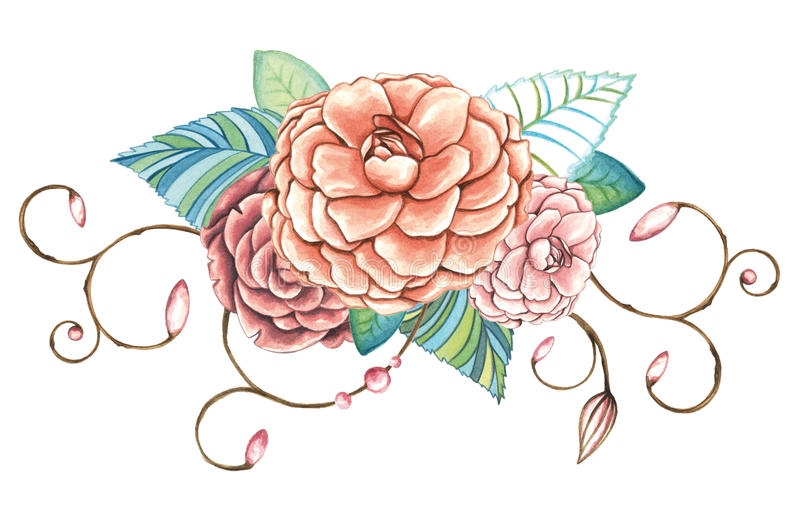 Ornamento floral de la acuarela pintada a mano de rosas stock de ilustración