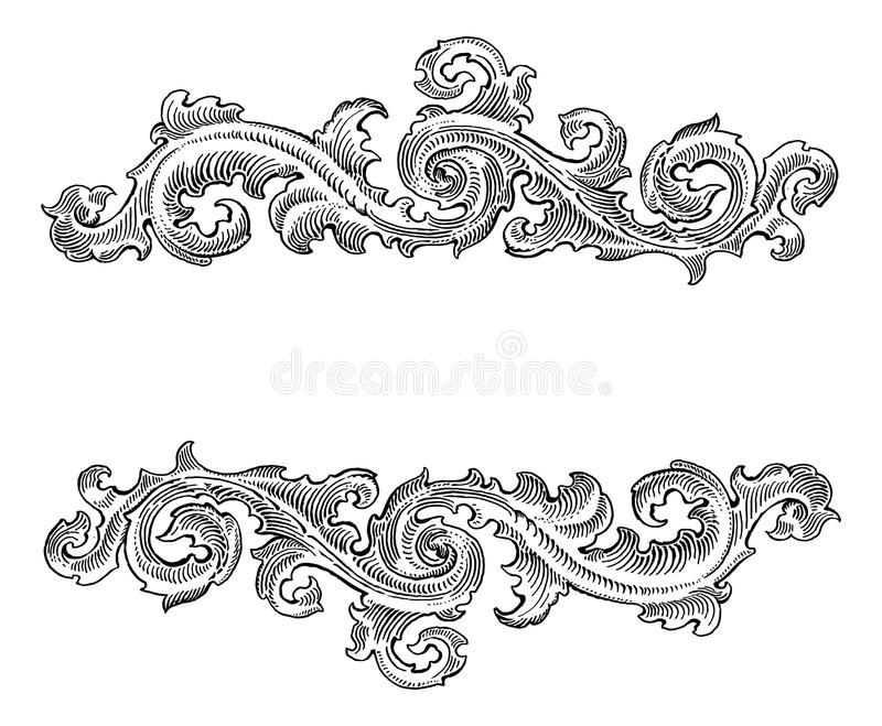 Ornamento floral de la caligrafía decorativa barroca hermosa del estilo libre illustration