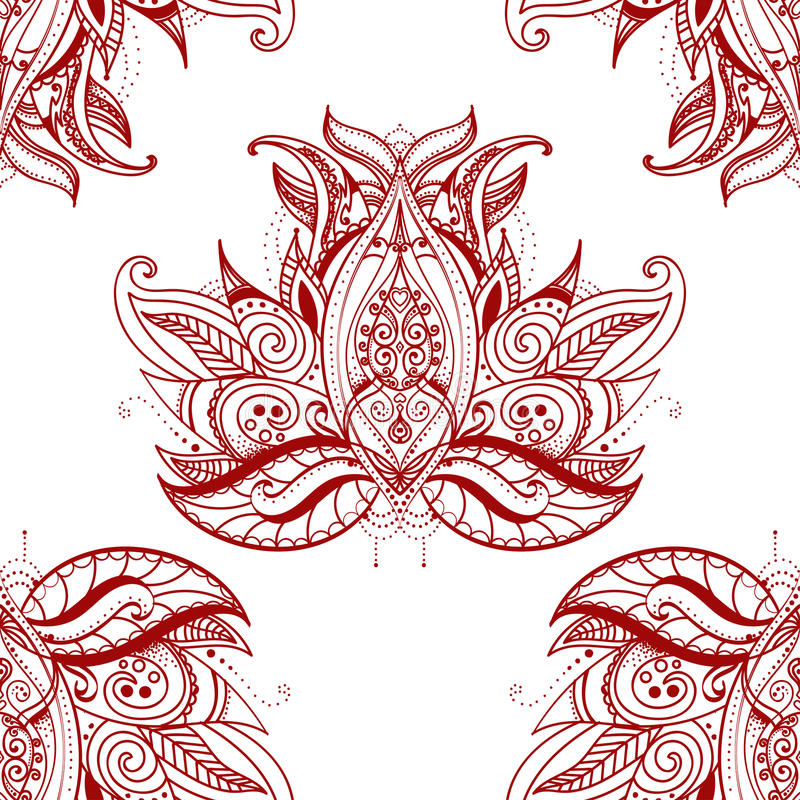 Ornamento floral de Paisley Elementos decorativos étnicos Fondo dibujado mano ilustración del vector