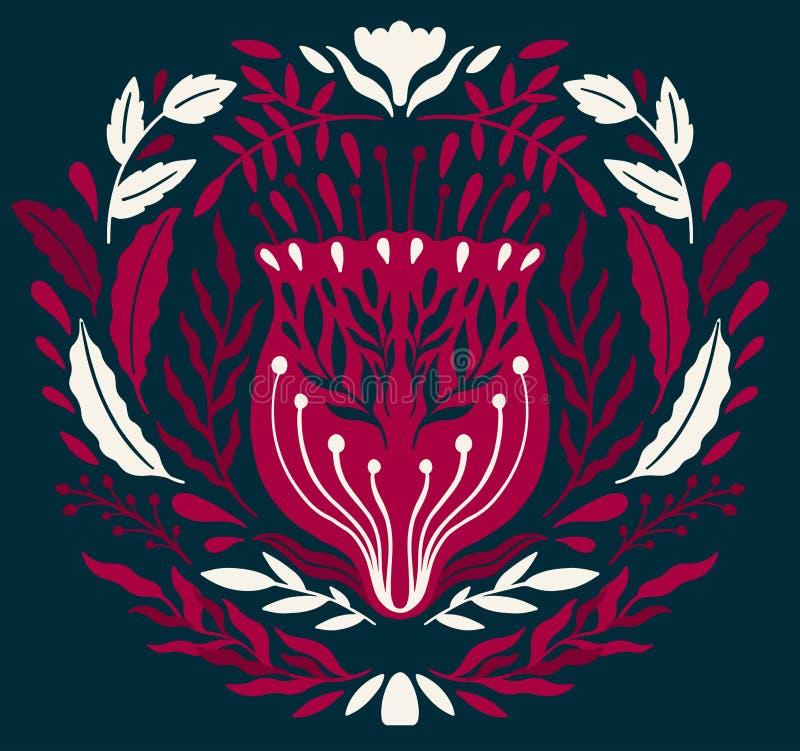 Ornamento floral decorativo popular de Ethno Composición especular de la simetría Ornamento abstracto de dibujo libre illustration