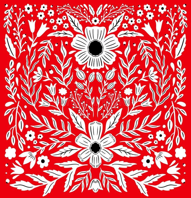 Ornamento floral decorativo popular de Ethno Composición especular de la simetría Ornamento abstracto de dibujo ilustración del vector
