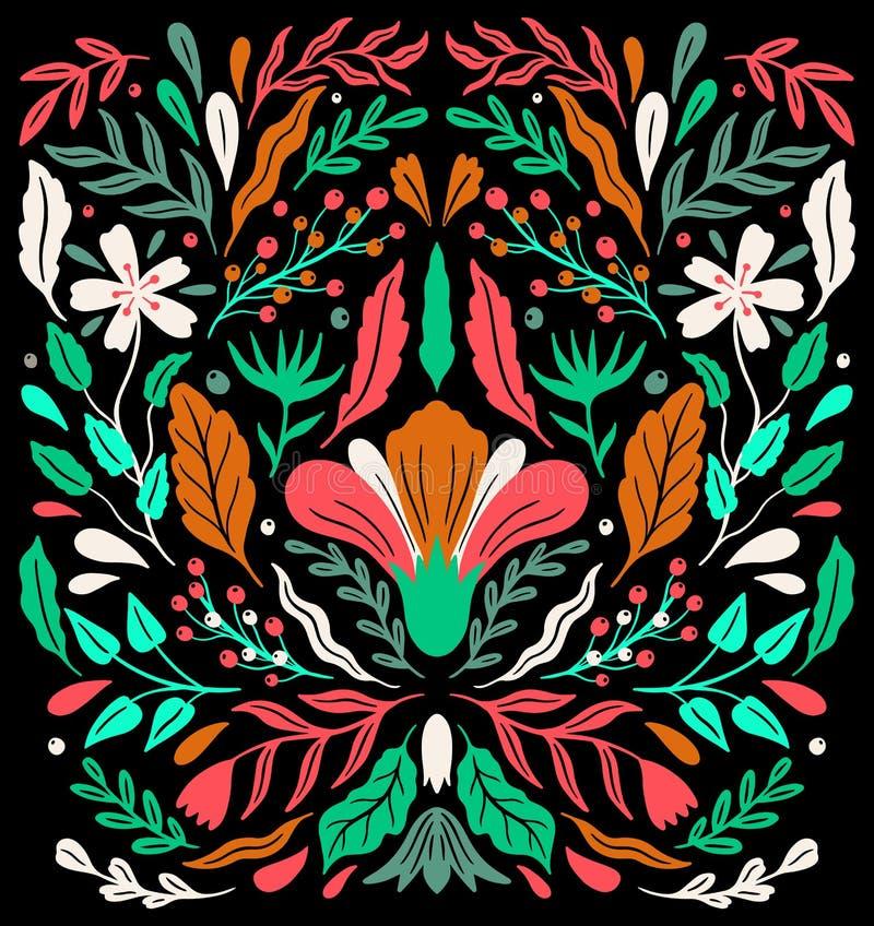 Ornamento floral decorativo popular de Ethno Composición especular de la simetría Ornamento abstracto de dibujo stock de ilustración