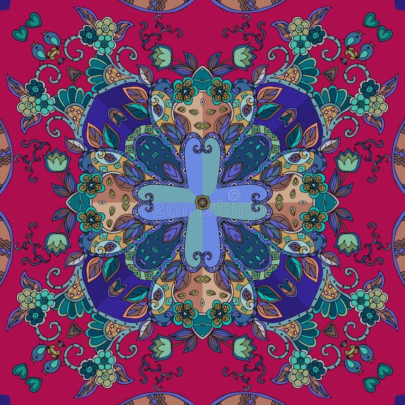 Ornamento floral decorativo Teste padrão sem emenda indiano ilustração do vetor