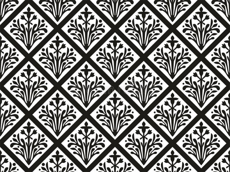 Ornamento floral del vector gótico geométrico inconsútil stock de ilustración