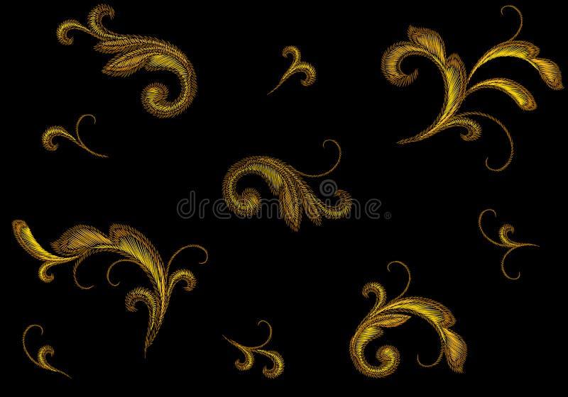 Ornamento floral do bordado vitoriano dourado Da flor sem emenda do ouro do teste padrão da cópia da forma da textura do ponto pr ilustração royalty free