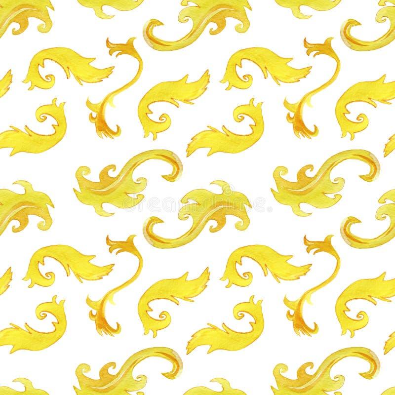 Ornamento floral do monograma do ouro O projeto barroco isolou elementos Grupo da ilustra??o da aquarela Aquarell de tiragem da f ilustração royalty free