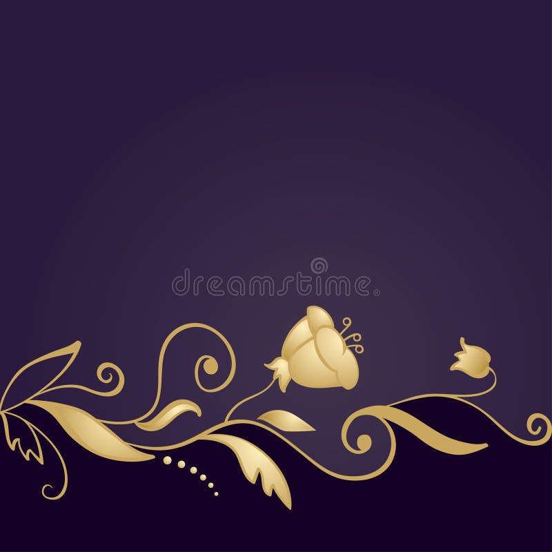 Ornamento floral dourado no fundo roxo ilustração do vetor
