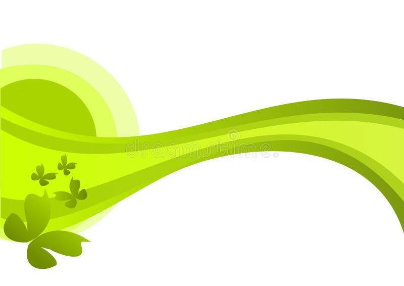 Ornamento floral em cores verdes com borboletas imagem de stock
