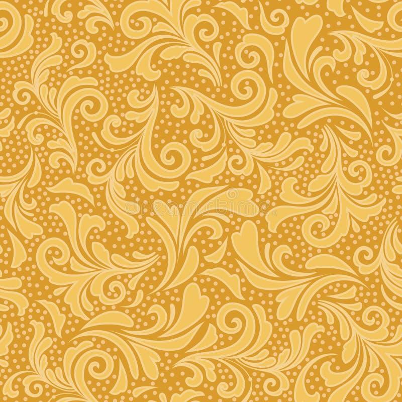 Ornamento floral en amarillo del oro libre illustration