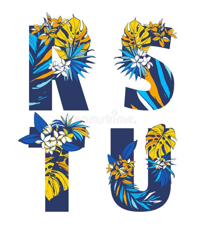 Ornamento floral exhausto del sistema de modelo de las letras del alfabeto de la mano tropical decorativa de la fuente stock de ilustración