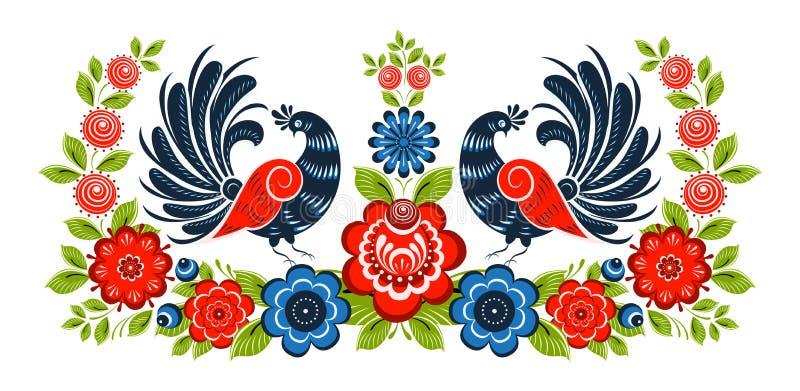 Ornamento floral, flores, baya y pájaros libre illustration