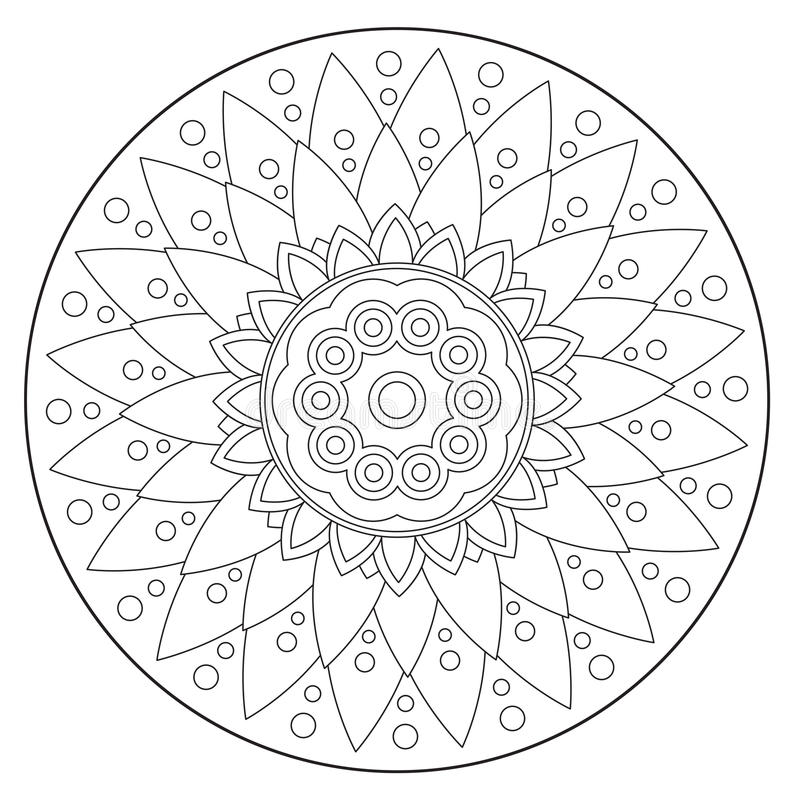 Ornamento floral geométrico colorindo ilustração royalty free