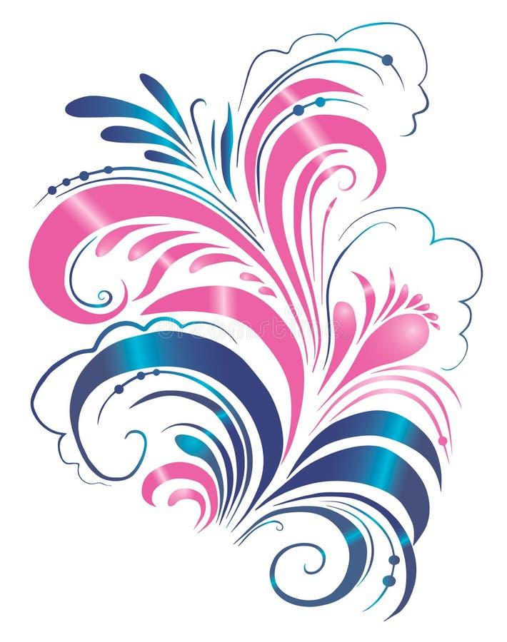 Ornamento floral, hoja de la flor de la voluta, ornamento grabado, estampado de flores, ornamento, diseño decorativo, ejemplo stock de ilustración