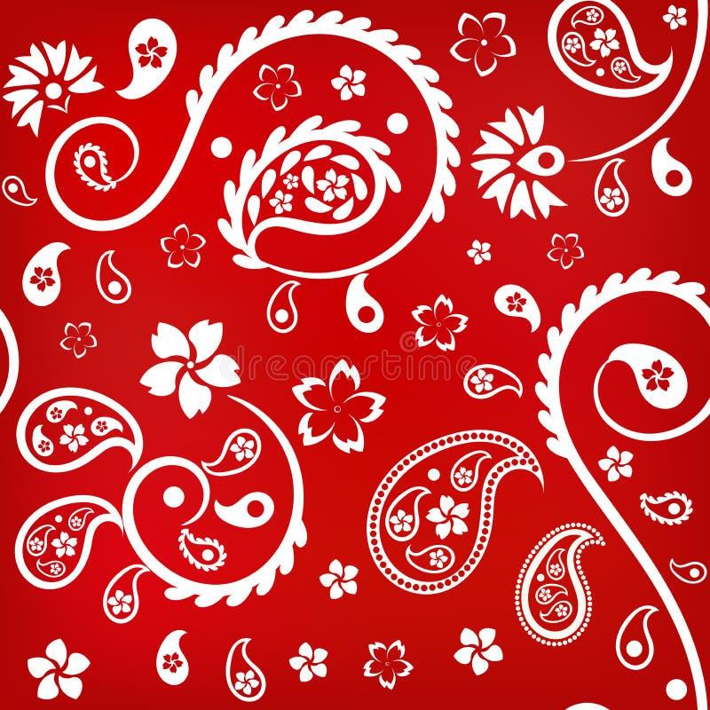 Ornamento floral inconsútil con los pepinos (indios) turcos, blancos en fondo rojo libre illustration