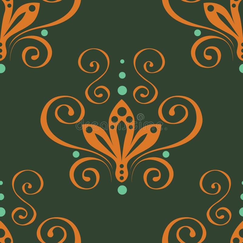 Ornamento floral inconsútil verde. Vector. stock de ilustración