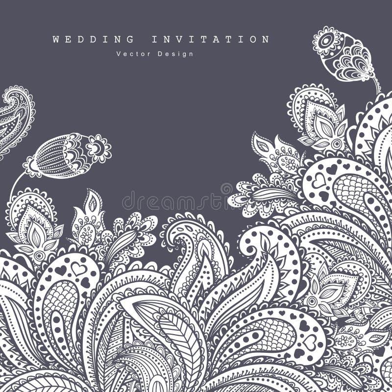 Ornamento floral indiano bonito casamento ilustração do vetor