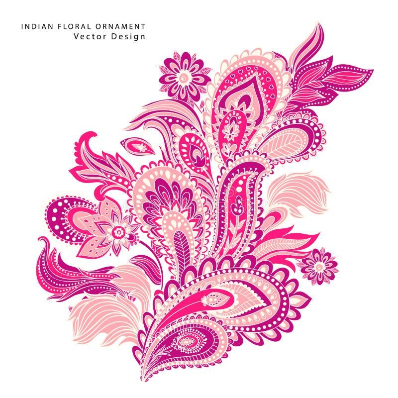 Ornamento floral indiano bonito da mandala ilustração royalty free