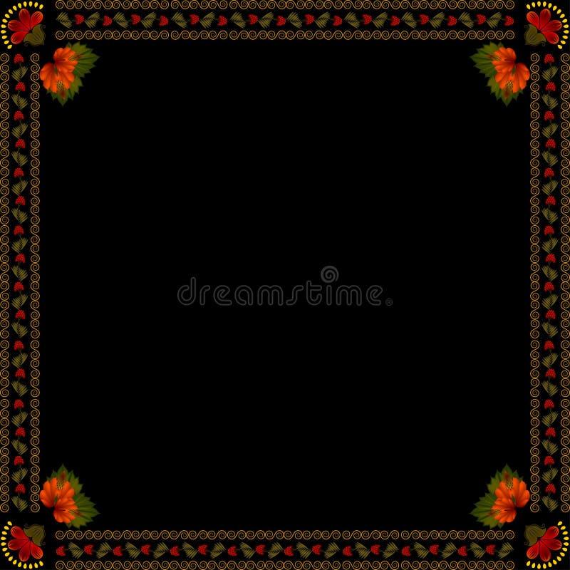 Ornamento floral nacional ucraniano no fundo escuro ilustração royalty free