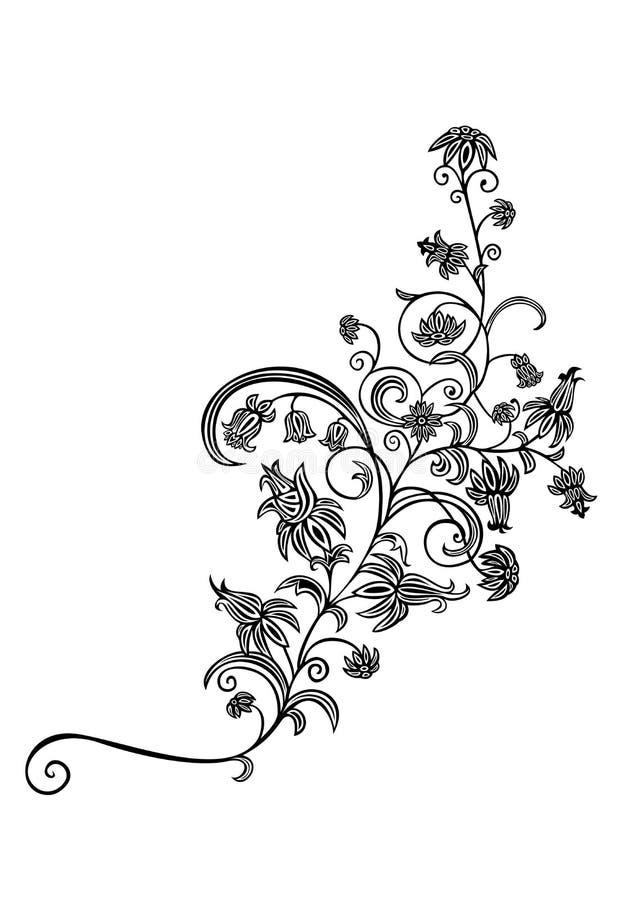 Ornamento floral preto e branco abstrato ilustração royalty free