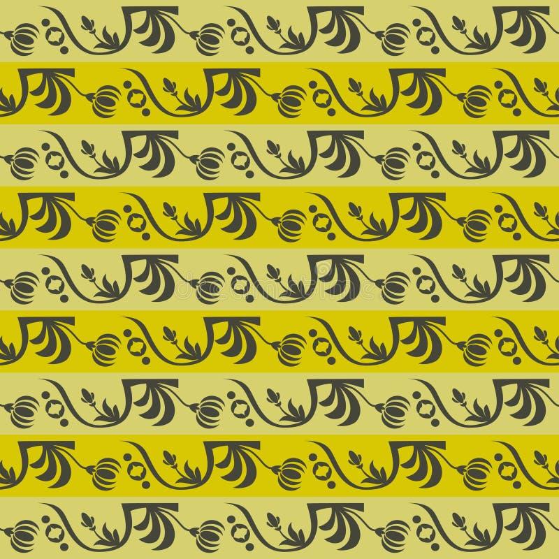 Ornamento floral rayado del moreno imagen de archivo libre de regalías
