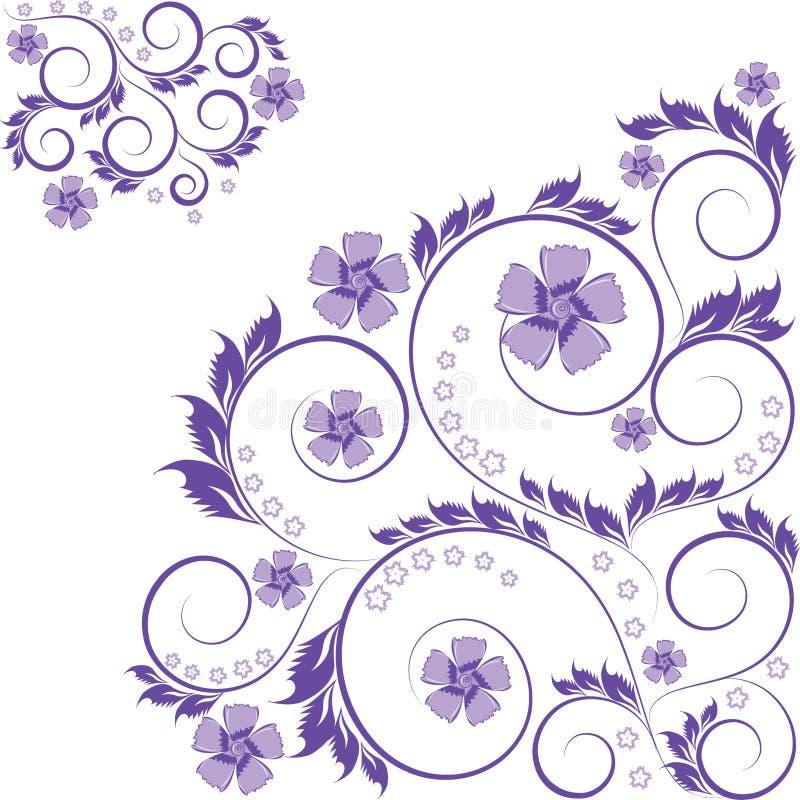 Ornamento floral roxo ondulado isolado no branco ilustração do vetor