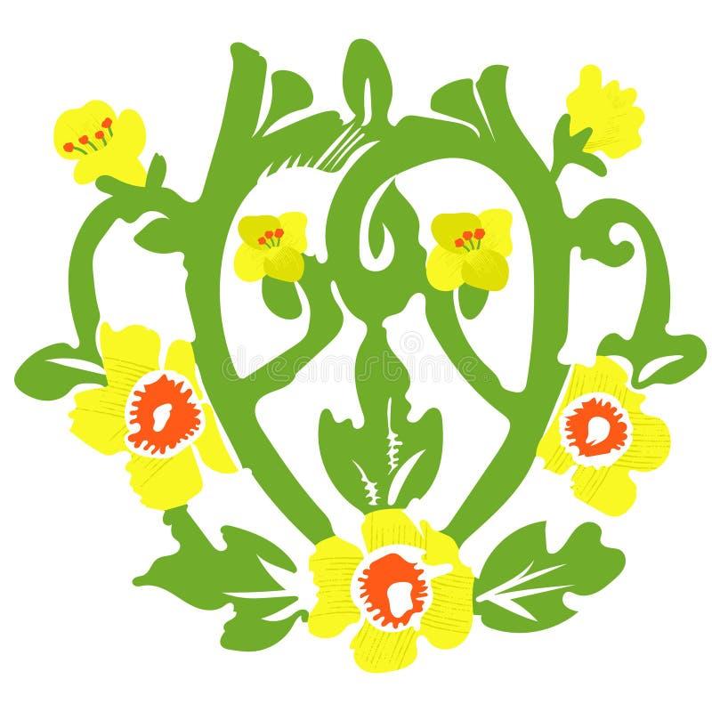 Ornamento floreale floreale Canola del monogramma, canola illustrazione vettoriale