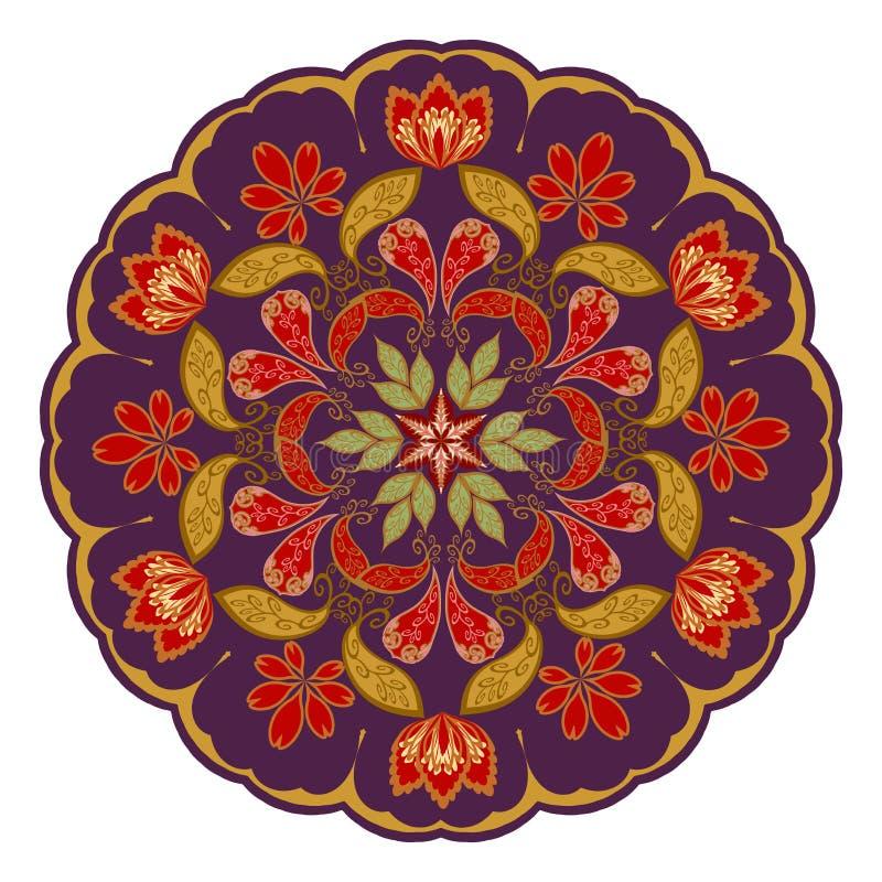 Ornamento floreale decorativo nello stile orientale mandala illustrazione vettoriale
