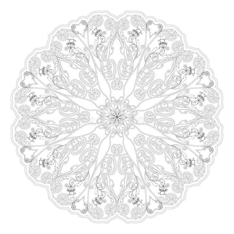 Ornamento floreale decorativo nello stile orientale Mandale del fiore illustrazione vettoriale