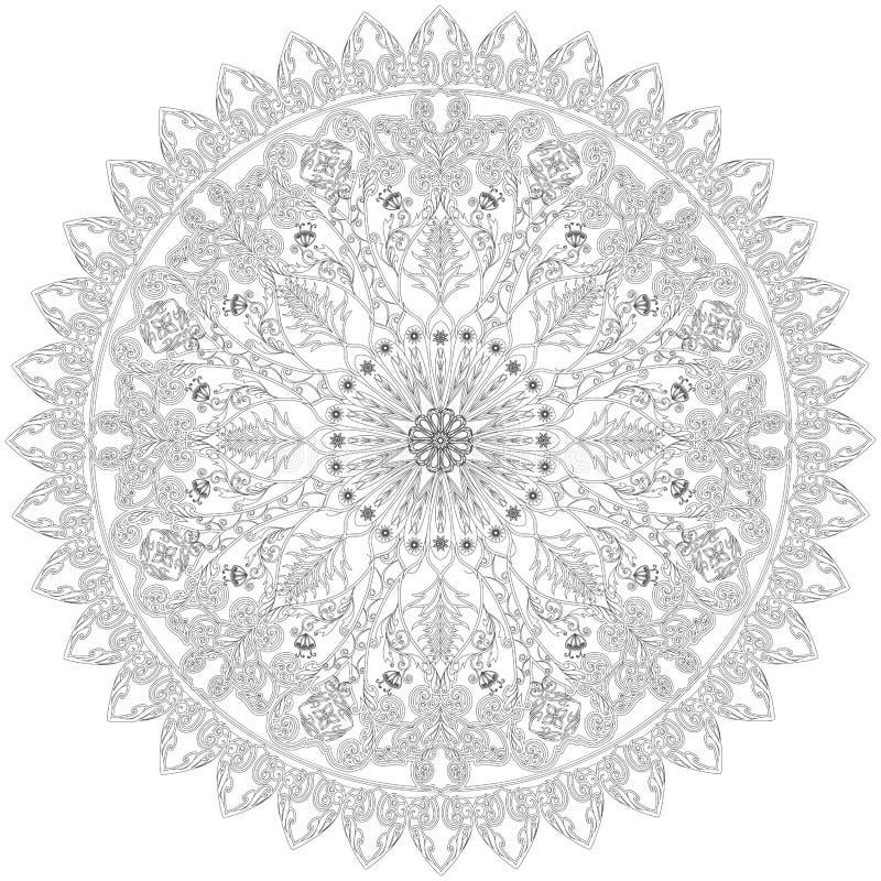 Ornamento floreale decorativo nello stile orientale Mandale del fiore royalty illustrazione gratis