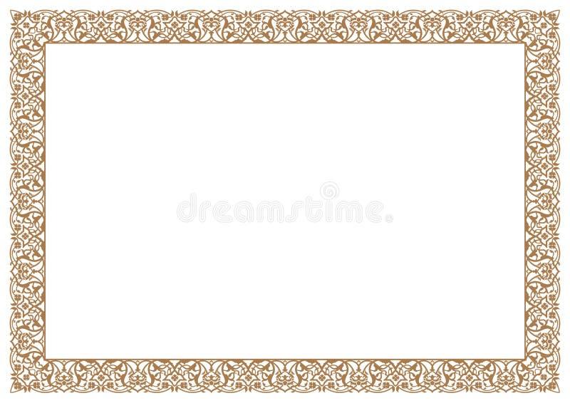 Ornamento floreale del confine & della struttura in oro per il certificato illustrazione di stock