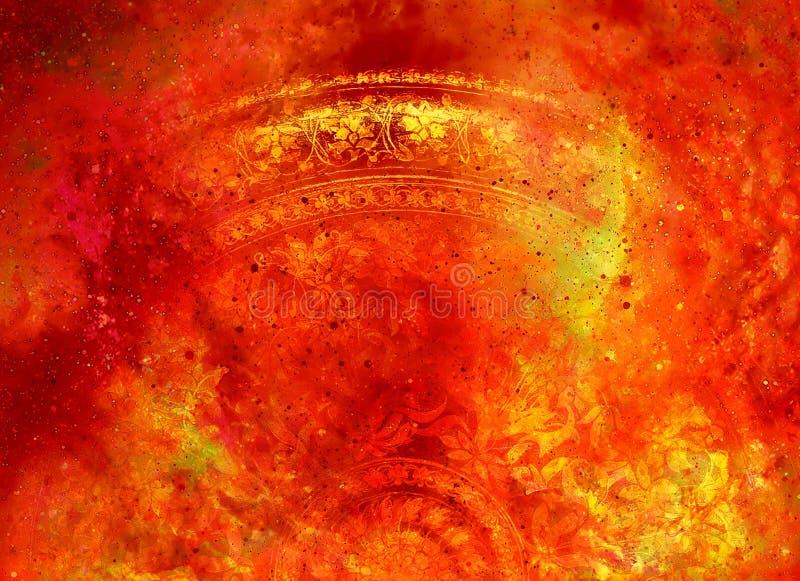 Ornamento floreale di Filigrane con forma della mandala su backgrond cosmico, collage del computer royalty illustrazione gratis