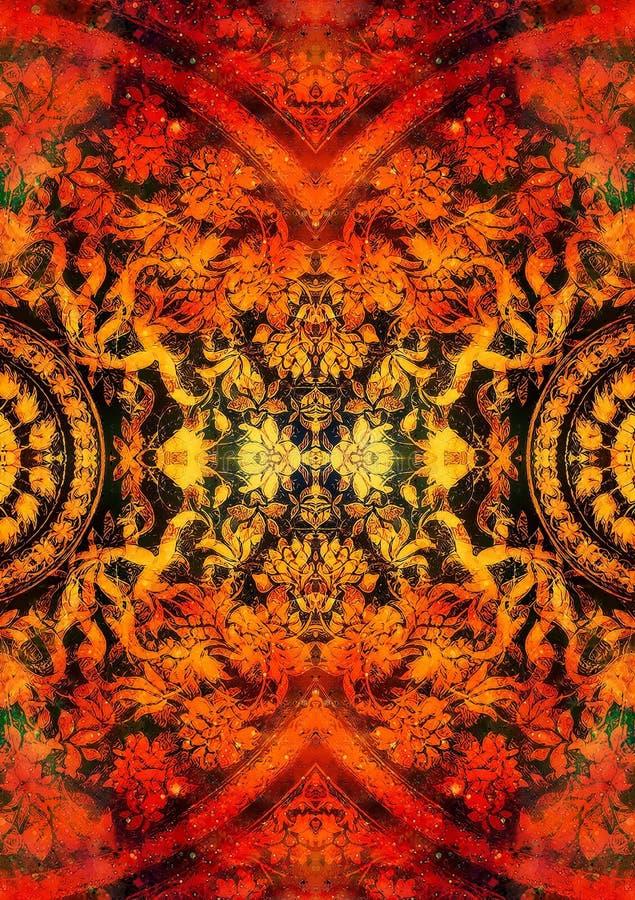 Ornamento floreale di Filigrane con forma della mandala su backgrond cosmico, collage del computer Effetto di fuoco illustrazione di stock