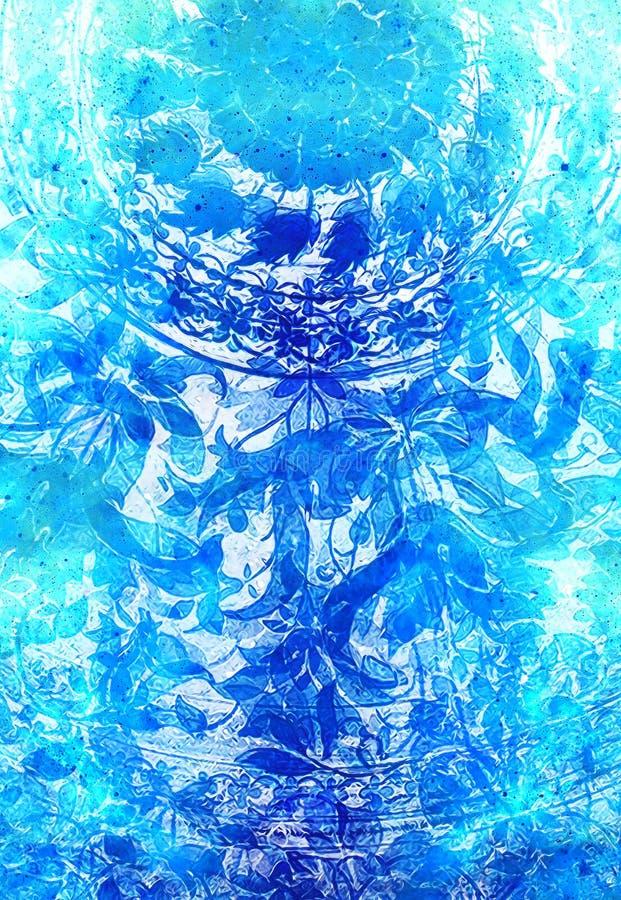 Ornamento floreale di Filigrane su backgrond astratto, collage del computer royalty illustrazione gratis