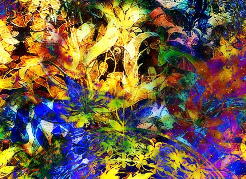 Ornamento floreale di Filigrane su backgrond astratto, collage del computer illustrazione vettoriale