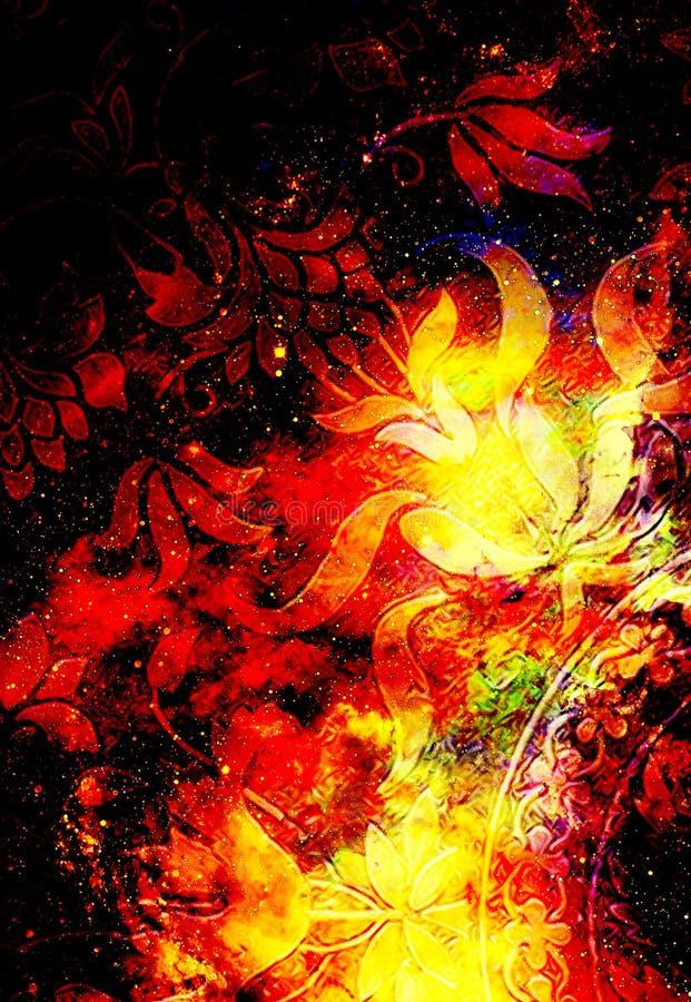 Ornamento floreale di Filigrane su backgrond cosmico, collage del computer Effetto di fuoco illustrazione vettoriale