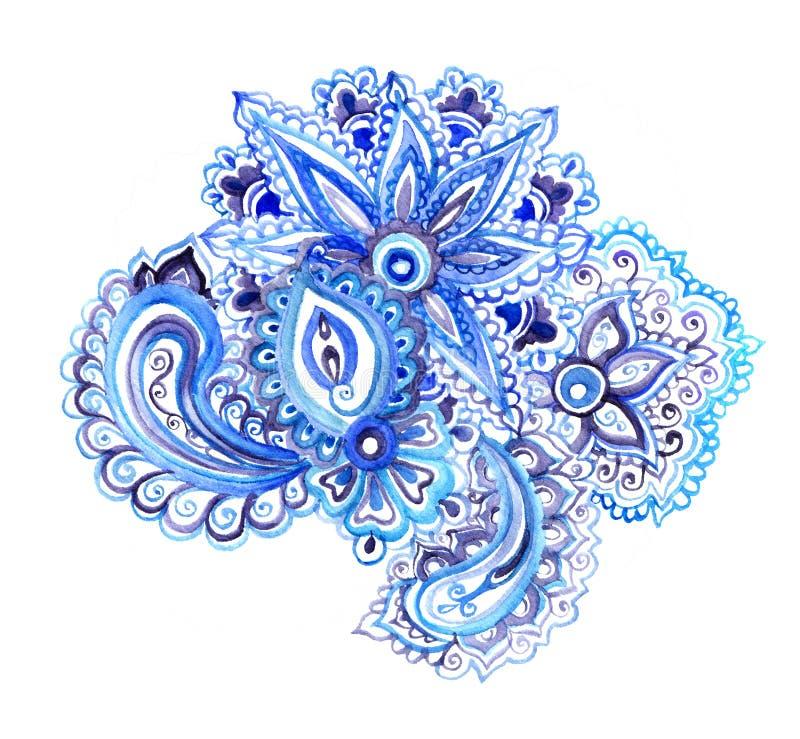 Ornamento floreale etnico indiano con i fiori orientali, Paisley Progettazione decorativa dell'acquerello immagini stock libere da diritti
