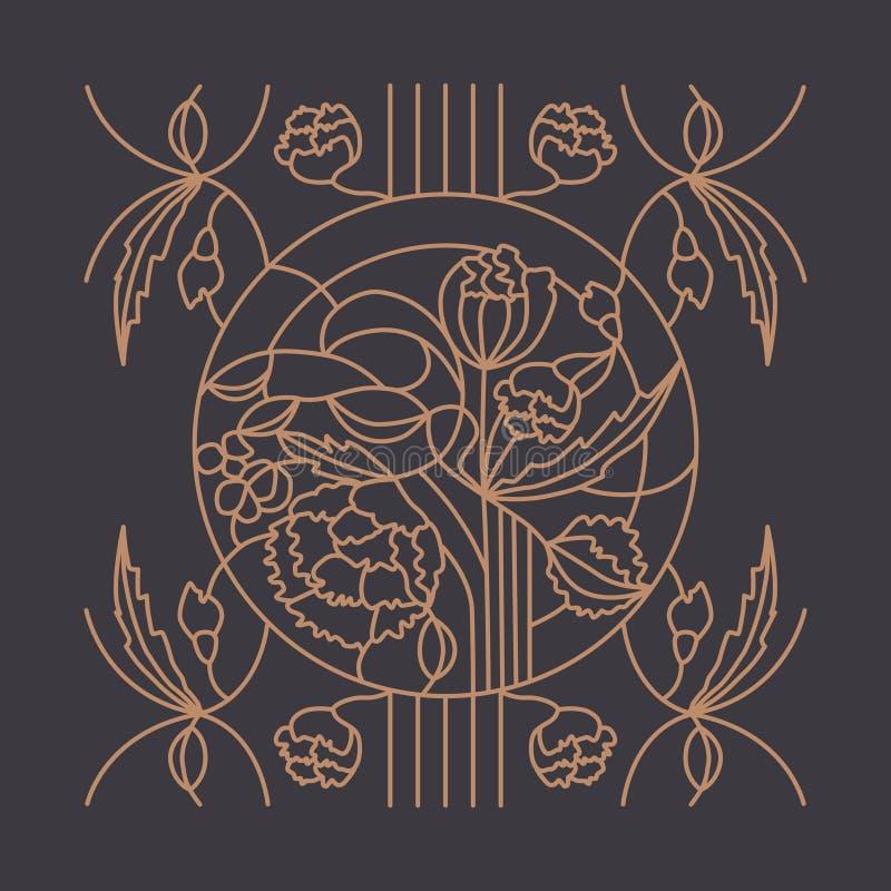 Ornamento floreale per la finestra di vetro macchiato royalty illustrazione gratis