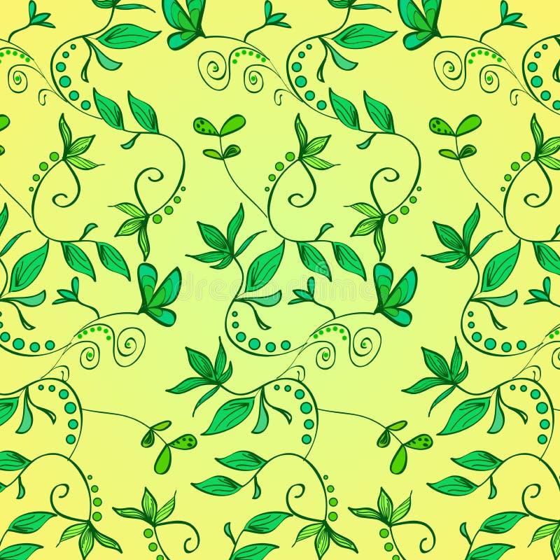 Ornamento floreale - piante verdi, fiori, foglie, rami su un fondo giallo Reticolo di vettore illustrazione vettoriale