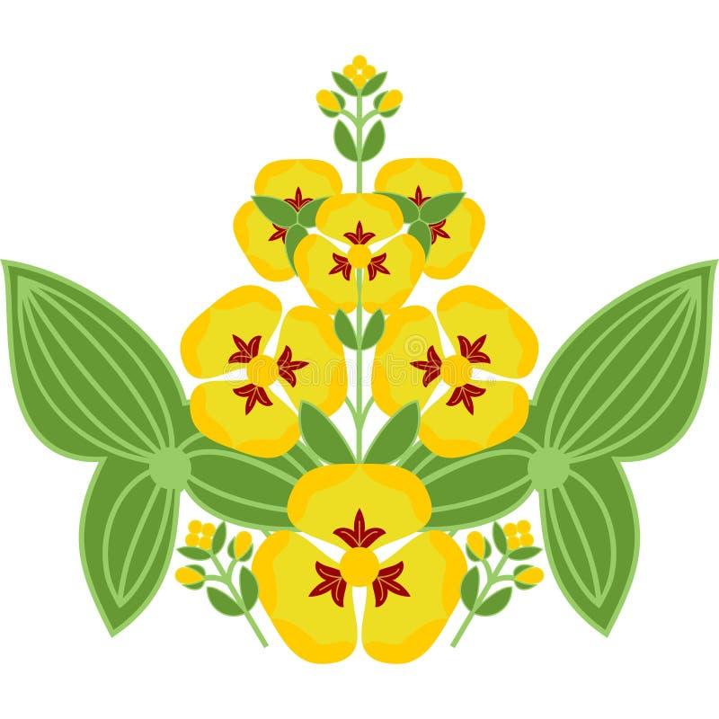 Ornamento floreale piega dei fiori gialli con le foglie immagine stock libera da diritti
