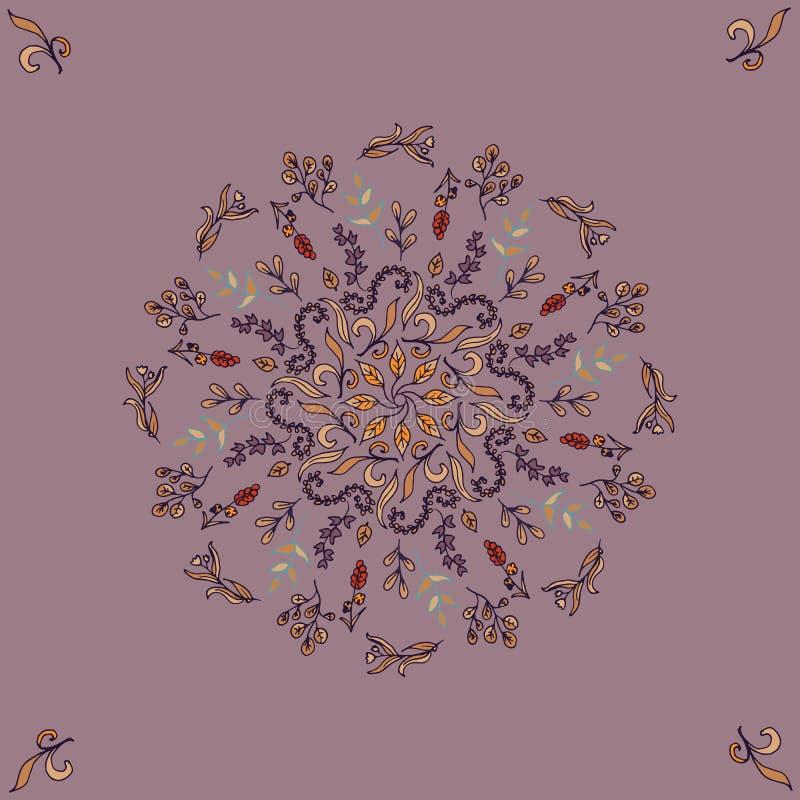 Ornamento floreale rotondo su fondo scuro Modello del telaio decorativo Modello senza cuciture d'annata di vettore illustrazione vettoriale