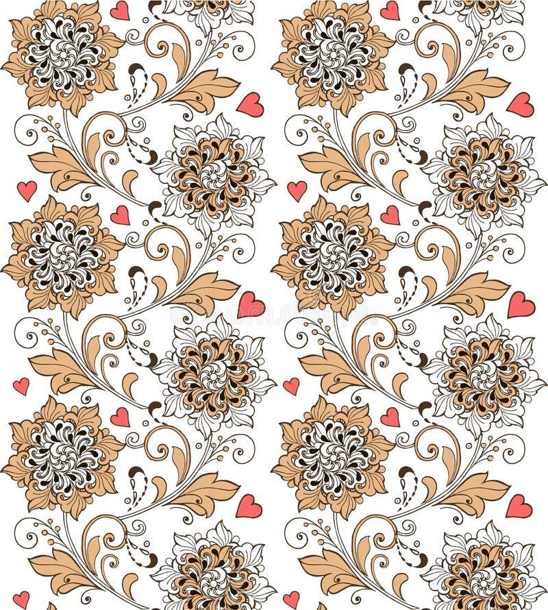 Ornamento floreale senza cuciture d'annata con i cuori Contesto decorativo dell'ornamento per tessuto, tessuto, carta da imballag fotografie stock