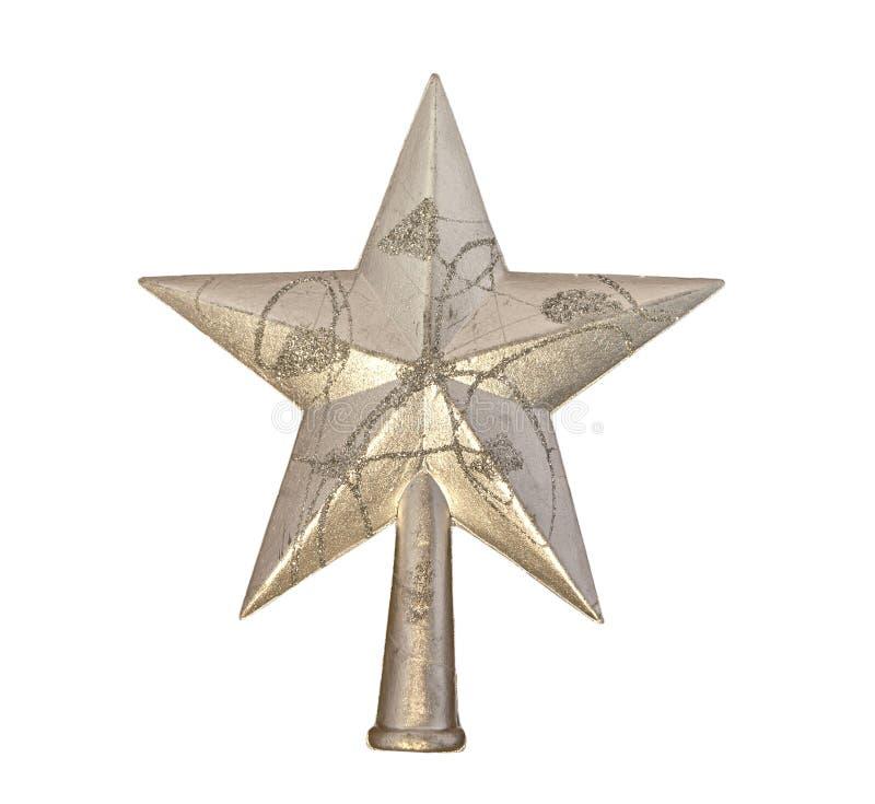 Ornamento a forma di stella brillante di Natale di Gray isolato su bianco fotografia stock libera da diritti