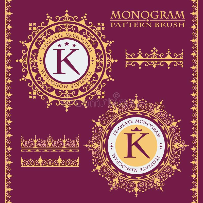 Ornamento frondoso dourado Escovas para criar um quadro decorativo Salvar na paleta Monograma do vintage Teste padrão rico ilustração royalty free