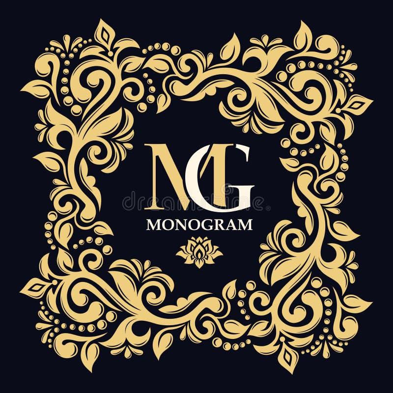 Ornamento frondoso Monograma, iniciais, joia Moldes do logotipo do vetor Frame decorativo do ouro ilustração stock