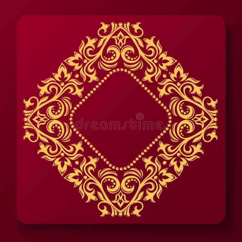 Ornamento frondoso Quadro vegetal Monograma dourado do vetor do vintage Emblema luxuoso elegante ilustração royalty free
