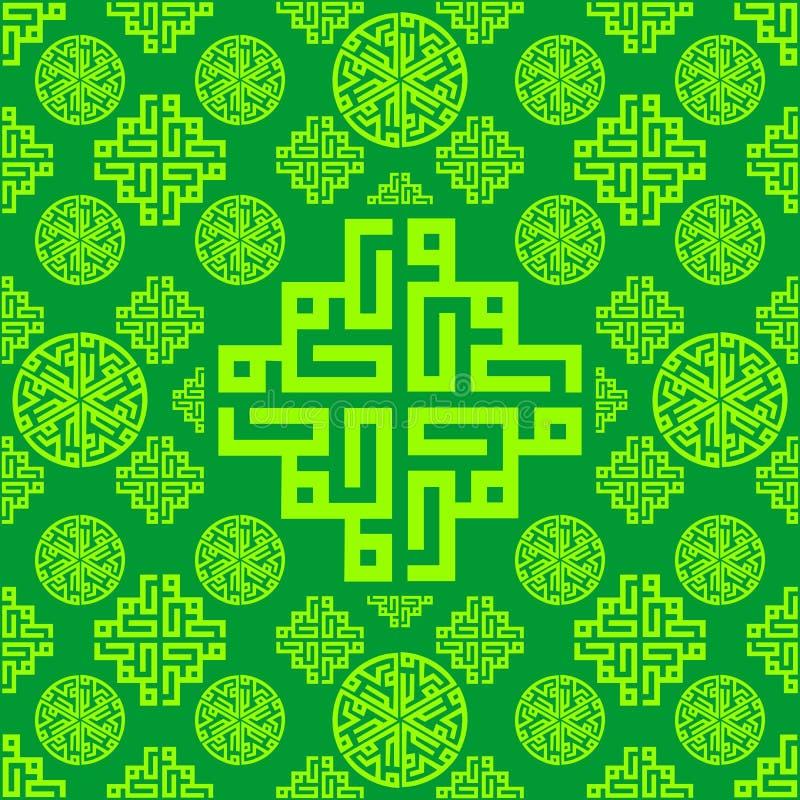 Ornamento, fundo sem emenda oriental, árabe, islâmico, verde da textura do teste padrão Vetor ramadan Mubarak ilustração royalty free