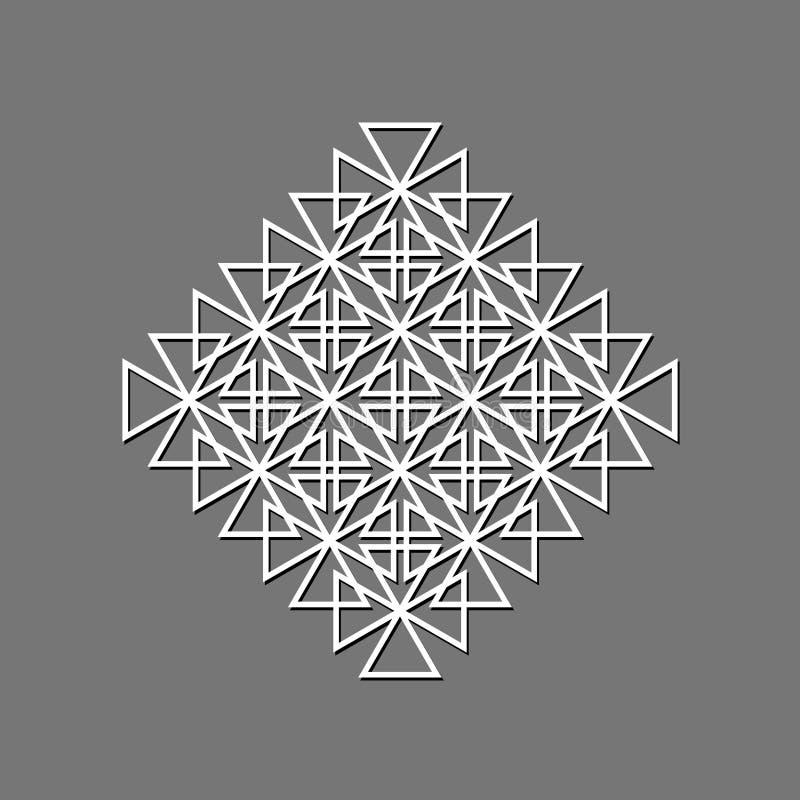 Ornamento geométrico abstracto Plantilla para el corte del laser Vector stock de ilustración