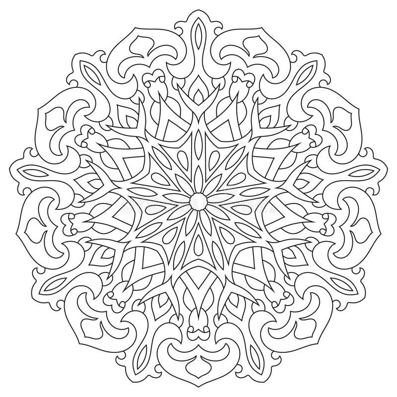Ornamento Geométrico Circular Mandala Redonda Del Esquema Para La ...